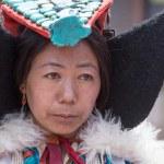 Tibetan Buddhist women in national dress. Hemis monastery, Ladakh, North India — Stock Photo #77803004