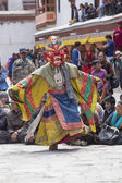 Tibetan Buddhist lamas in the mystical masks perform a ritual Tsam dance . Hemis monastery, Ladakh, India — Stock Photo