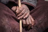 Old Tibetan man hand. Ladakh, India — Stock Photo