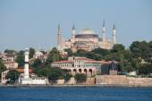 Hagia Sophia and Istanbul, view from Bosphorus strait. Turkey — Stock Photo