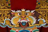 Mythological image of a lion in Buddhist monastery.  India — Zdjęcie stockowe