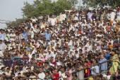 Indian people preparing to celebrate daily closing of Indian - Pakistani border . Attari, India — Stock Photo