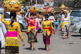 Indonesian people celebrate Balinese New Year and the arrival of spring. Ubud, Bali, Indonesia — Stock Photo