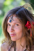 Portrait beautiful hippie girl in nature, close up — Stock Photo