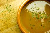 Broth, bouillon, clear soup — Stock Photo