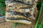 Sandwich with sardines for the background — Stock Photo