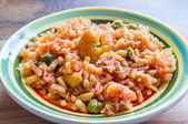 Plate of risotto with shrimp — Stock Photo