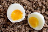 Two halves of hard-boiled eggs — Stock Photo