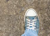 グランジ コンクリート階平面図古い靴詳細 — ストック写真