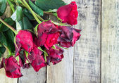 Fresh red rose on wooden background. Valentines Day — Stock Photo