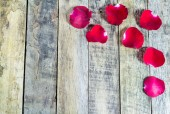 Fresh red rose on a wooden background. — Stock Photo