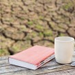 Notebook and coffee cup on wooden table over blurred background — Stock Photo #70845735