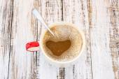 Coffee on a white wooden background  — Stock Photo