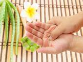 Hand pain with blurred aloe vera and frangipani flower backgroun — Stock Photo