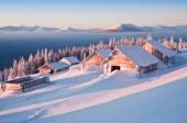 Inverno, cabines — Fotografia Stock