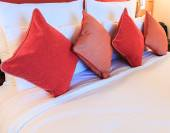 Pillows on bed — Stock Photo