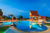 Modern resort with swimming pool — Stockfoto