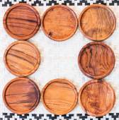 Wooden coasters for glass — Stock Photo