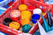 Old paints artists paintbrushes paints and brushes — Stock Photo