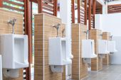 Urinals in public toilets — Stock Photo