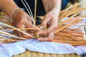 Woman  weaving Bamboo — Stock Photo