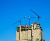 Construction site and cranes — Stock Photo