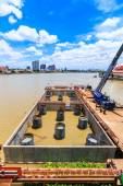 Concrete bridge  across  Chao Phraya River — Stock Photo
