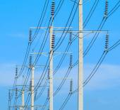 Wires pole electricity post — Stock fotografie