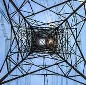 Silhouettes Electricity pylon — Stock Photo