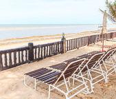 Empty Sunbeds on  beach — Stock Photo