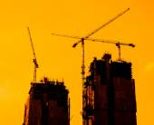 Construction Site silhouettes — Stock Photo