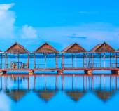 Pavilions in water during Twilight — Stock Photo