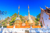 Temple, two golden pagoda or stupa — Stock Photo