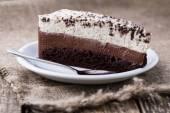 Chocolate dessert on wooden background. — Stok fotoğraf
