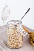 The oat flakes in glass jar and wheat. — Stock Photo