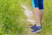 Morning hiking woman legs walking on trail. — Stock Photo