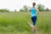 Woman stays outdoor in the morning sport workout. — Stock Photo