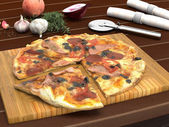 Tasty Meaty Pizza on Wooden Board on Table Top — Stock Photo