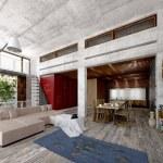 Large modern open-plan living room interior 3d — Stock Photo #73192525
