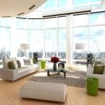 Modern living room with wrap around windows 3d — Stock Photo #73192783
