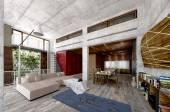 Large modern open-plan living room interior 3d — Stock Photo