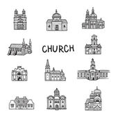 Set of house icons. Doodles Church. Line illustration. Hand drawn illustration. Fun arts. Cartoon style. — Stock Vector