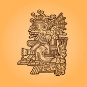 Person. Illustration of the Maya object. Maya design elements. — Vettoriale Stock