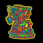 Person. Flyuro image of the Maya. Maya designs. Maya design elements. — Stock Vector
