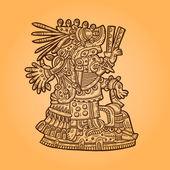 Person. Illustration of the Maya object. Maya design elements. — Stock Vector