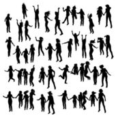 Silhouette of jumping people. — Stock Vector