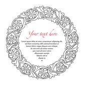 Marco de flor retro. Ornamento del círculo. Elemento heráldico. — Vector de stock