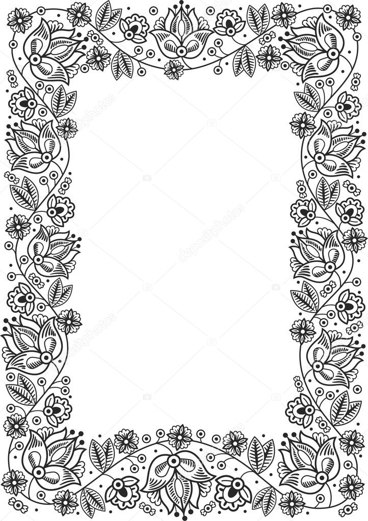 Retro Flower Frame Heraldic Ornament Pages Tamplate