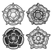Set of four heraldic roses. Vintage decorative elements. Isolated objects. — Stock Vector