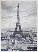 Detailed reprography of a vintage engraved illustration from Eiffel Tower — Stock Photo